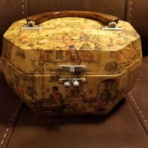 60s Vintage Wood Octagon Handbag Anton Pieck Artis